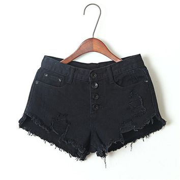 Curling Denim Shorts Female New Summer Fashion Solid Vintage Jeans Bermudas Feminino Ripped Slim Korte Broeken Mujer DYB211