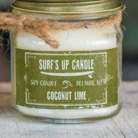Surf's Up Mason Jar Candle -- Coconut Lime 8-oz
