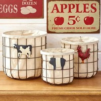 Set of 3 Country Themed Lined Wired Baskets Rustic Country Kitchen Decor