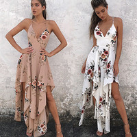 Bohemia Sexy Spaghetti Strap Prom Dress One Piece Dress