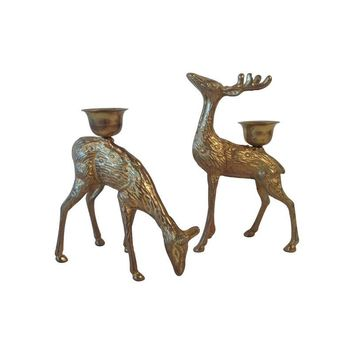 Pre-owned Brass Deer Candle Holders - A Pair