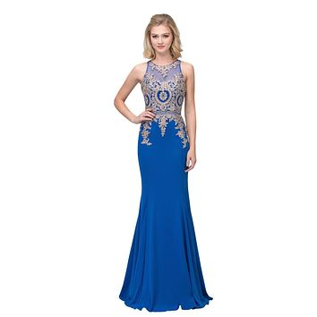 Appliqued Mermaid Long Prom Dress with Sheer Midriff Royal Blue