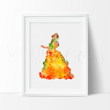 Belle 2, Beauty and the Beast Watercolor Art Print