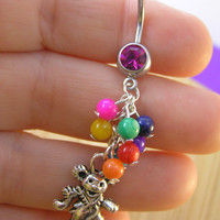The Grateful Dead 50th Celebration Colorful Balloons Belly Button Ring Marching Bear on a Pink 14g Deadhead Heady Navel Jewelry OOAK Dancing