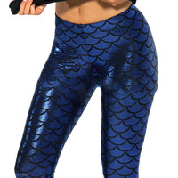 Royal Blue Mermaid Beyond the sea Leggings