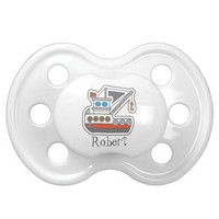 Personalized Blue Red Gray Tugboat Little Boy Pacifier