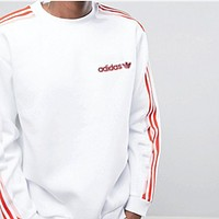 "Women Fashion ""Adidas"" Sweater Shirt Long Sleeve White-Red Stripe"