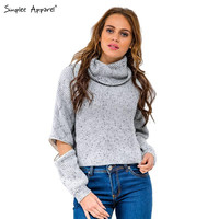 Simplee Apparel turtleneck open zipper sleeve knitted warm sweater women autumn winter Fashion tricot short pullover jumper plus