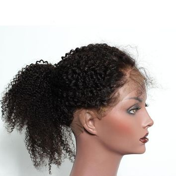 Mongolian Afro Kink Curly Pre Plucked 360 Lace Frontal Closure Natural Hairline With Baby Hair Natural Black