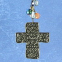 Cross Beaded Car Charm