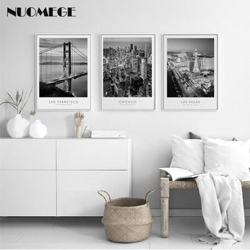 Black And White City Wall Picture Modern Landscape Wall Art Poster Minimalist Canvas Painting Nordic Style for living room Decor
