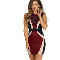 Navy Fine Lines Bodycon Dress