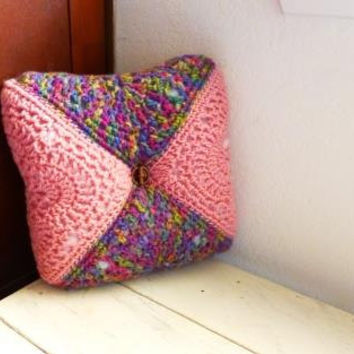 Granny square pillow, throw pillow, pink pillow, small pillow, lumbar support, ready to ship, crochet pillow, handmade, comfy