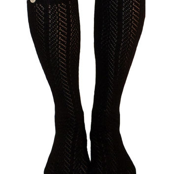 Women's Black Chevron Pattern Button Lace Boot Socks, Crochet Lace Button Boot Socks, gift