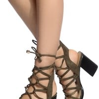 Olive Faux Suede Cut Out Lace Up Chunky Heels @ Cicihot. Booties spell style, so if you want to show what you're made of, pick up a pair. Have fun experimenting with all we have to offer!