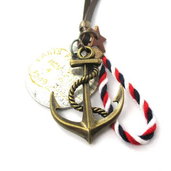 Vintage Inspired Nautical Themed Anchor and Coin Pendant Necklace in Brass | DOTOLY