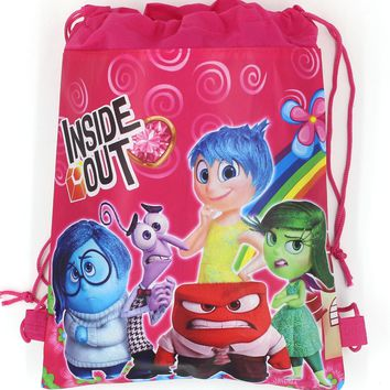 12Pcs New Inside Out Drawstring Boys Girls Cartoon School Bag Children Printing School Backpacks for Birthday Party Gifts