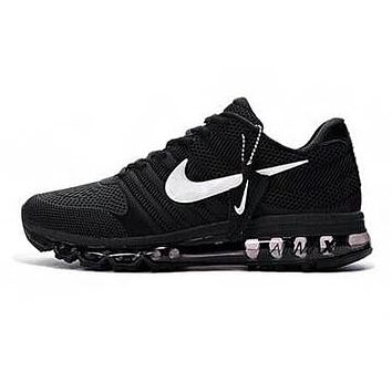 Nike Air Max Classic Hot Sale Women Men Air Cushion Sneakers Sport Shoes Black(White Hook)