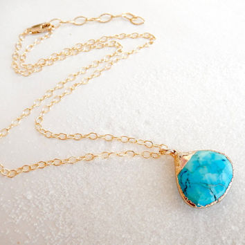 Arizona Blue Turquoise Necklace 24K Gold Pendant- Free Shipping OOAK Jewelry
