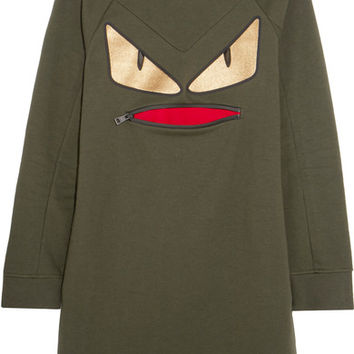 Fendi - Wonders appliquéd cotton-blend jersey sweatshirt