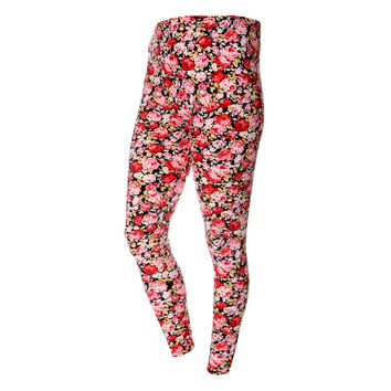 Floral Print Velour Leggings