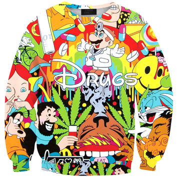 2015 Men/Women Totoro Harajuku DRUGS Print Pullover 3D Hoodies Funny Galaxy Space Sweatshirt Sudaderas Tops Clothes