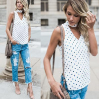 New summer sexy Women dot printed sleeveless T-shirt-0525