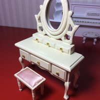 Vintage Make Up Table, Milky White with Mirror & Stool, 1:12 Scale, Dollhouse Miniature