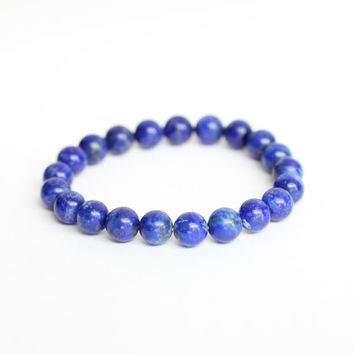 Genuine Natural LAPIS LAZULI Bracelet. Reiki Energy Bracelet. Third eye bracelet. Throat Chakra. Lapis Bracelet. Blue Stone. Spirit Guides.