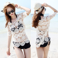 Short Sleeve Cutout Crochet Beach Cover Up Knitted Top