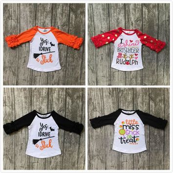 Fall baby little miss 4-colors girls boutique top t-shirts clothes black icing half ruffles sleeve cotton top raglans kids wear