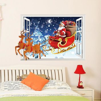 Santa Claus driver deer 3D fake window Christmas PVC Wall Sticker new year decoration living kids room bedroom Wall paper
