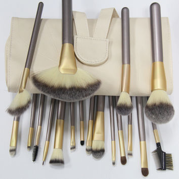 On Sale Hot Deal Make-up Beauty 18-pcs Beige Hot Sale Make-up Brush [6048379649]