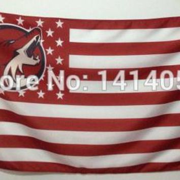 Phoenix Coyotes with Stripes And Stars Flag 150X90CM  NHL 3X5 FT Banner 100D Polyester flag grommets 001, free shipping