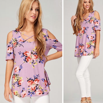 Lavender Floral Criss Cross Top