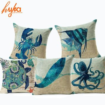 Hyha Turtle Whale Crab Cushion Cover Seahorse Jellyfish Abstract Style Home Decorative Pillows Cover for Sofa Feeling of Ocean