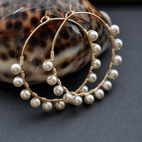 Pearl Hoop Earrings, Gold Beaded Hoops, Thin Wire Earring, Bohemian Bridal Jewelry