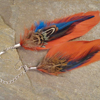 Asymmetrical Feather Ear Cuff Earrings, Red & Blue Long Feather Earrings