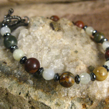 Picasso Jasper Natural Quartz with Hematite Stone Bracelet, Handmade Jewelry Gifts for Her from The Hidden Meadow
