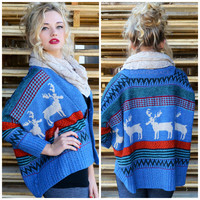 Chilly Reindeer Chunky Knit Cardigan Sweater Blue