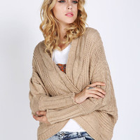 V-Neck Bat Sleeve Irregular Hem Knit Shawl Cardigan