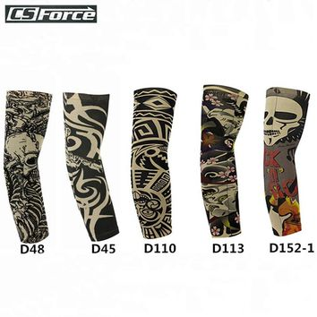 1Pcs Fake Tattoo Sleeve Elastic Arm Warmers UV Sun Protection For Cool Summer Print Bicycle Sunscreen Arm Cover Driving Running
