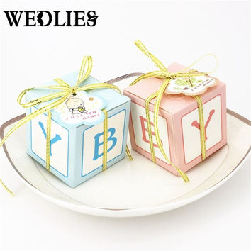 Baby Shower Favor 50pcs/lot Candy Box with Ribbons Cards Party Paper Gift Boxes Blue Pink Birthday Event Party Supplies