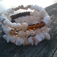 Natural Shell and Crystal Wrap Bracelet