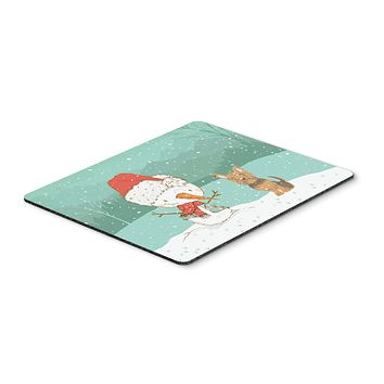 Yorkie Cropped Ears Snowman Christmas Mouse Pad, Hot Pad or Trivet CK2098MP
