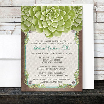 Succulent Bridal Shower Invitations - Garden Green Floral with Brown and Teal on Rustic Beige Canvas design - Printed Invitations