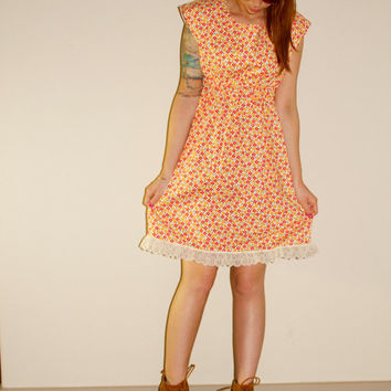 60s Flower Power Hippie Woodstock Mini Dress XS / Small
