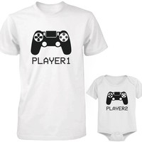 Daddy and Baby Matching T-Shirt and Onesuit Set - Player 1 & Player 2