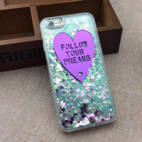 Follow Your Dreams Dynamic Liquid Glitter Quicksand Star Hard Phone Case