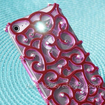 for iphone 5 5S PINK Nouveau Art Ivy Hard Hot Pink Case Cover Handmade w/ Genuine SWAROVSKI ELEMENTS Crystals
